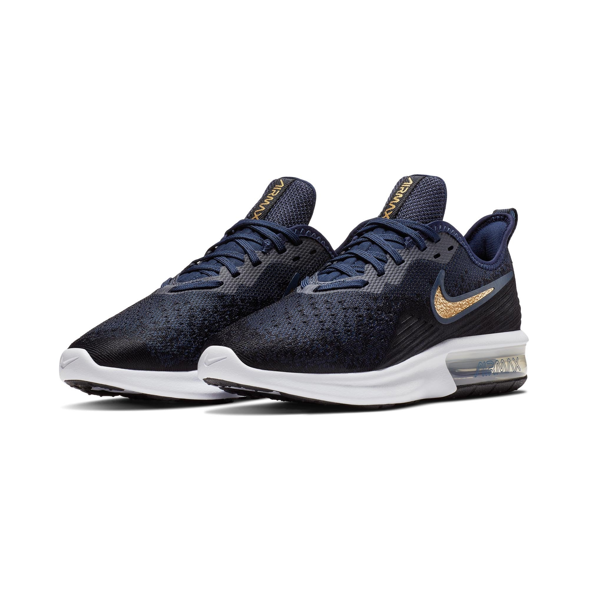 separation shoes 87a00 c8c88 Singapore NIKE Women Air Max Sequent 4 Running Shoes, Black Metallic Gold  Obsidian