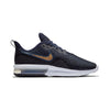 Women Air Max Sequent 4 Running Shoes, Black/Metallic Gold/Obsidian/White