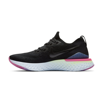 Women Epic React Flyknit 2 Running Shoes, Black/Sapphire/Lime Blast