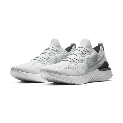 Men Epic React Flyknit 2 Running Shoes, Pure Platinum/Gunsmoke