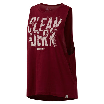 Women Crossfit Clean & Jerk Muscle Tank, Rustic Wine
