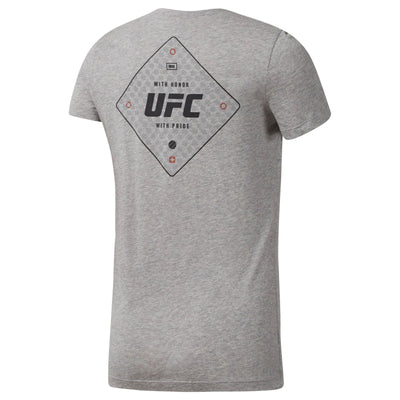 Women UFC Front Graphic Logo Tee, Medium Grey Heather