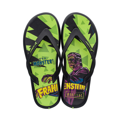 Men Monsters Flip-Flops Black/Green