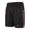 "Men Sport Printed 16"" Watershorts, Black/Fluo Orange"