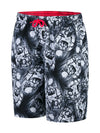 Boys Trooper Allover Printed Leisure Swim Shorts, Black/White/Lava Red