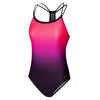 Women Hydrosense Printed Flowback Swimsuit, Psycho Red/Royal Purple/Black