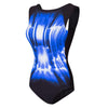 Women Crystalsheen Printed Swimsuit, Black/Chroma Blue/White