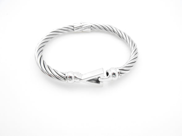 Sterling Silver Cable Pyramid Bracelet