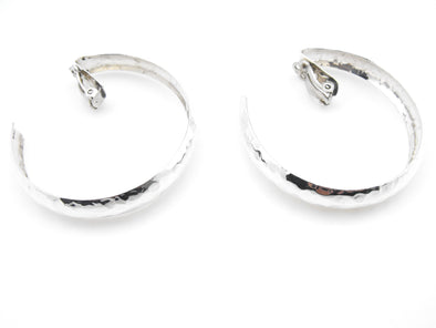 Hammered Clip-On Hoop Earrings