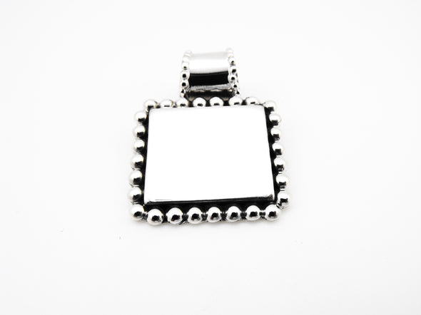 Bead Trimmed Square Pendant