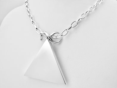 Sterling Silver Pyramid Pendant Necklace -Large