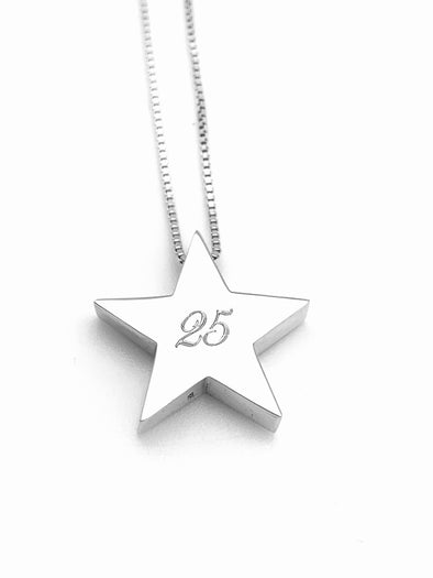 """25"" Silver Star Necklace"