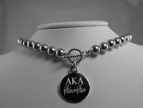 AKA Pearl Necklace - Silver Star - Alpha Kappa Alpha - The Sterling Link