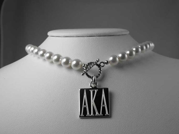 AKA Pearl Necklace-Square - Stone - The Sterling Link