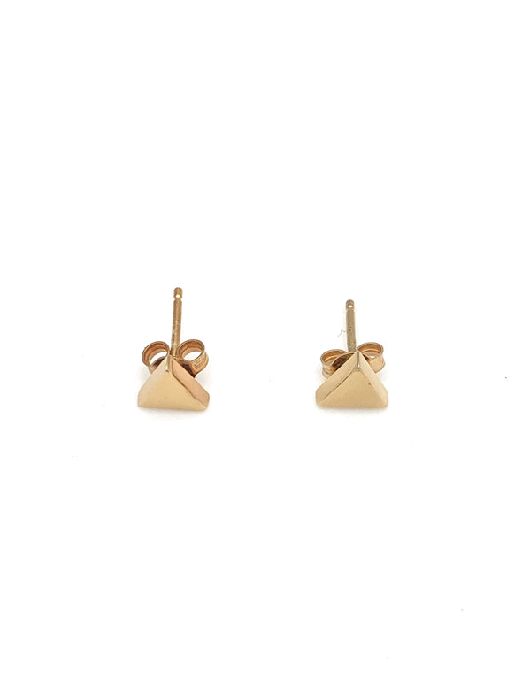 New! Tiny Gold Vermeil Pyramid Stud Earrings
