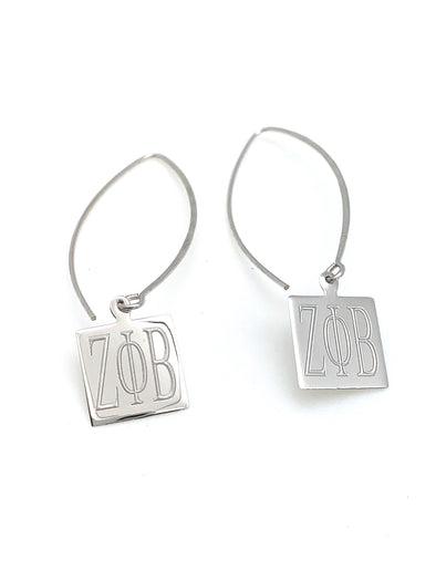 Zeta Phi Beta Square Thread Earrings