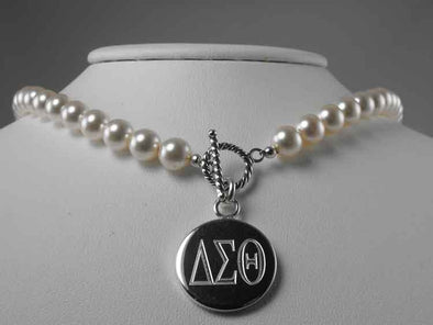 Delta Sigma Theta Creme Pearl Necklace - Delta Sigma Theta - The Sterling Link
