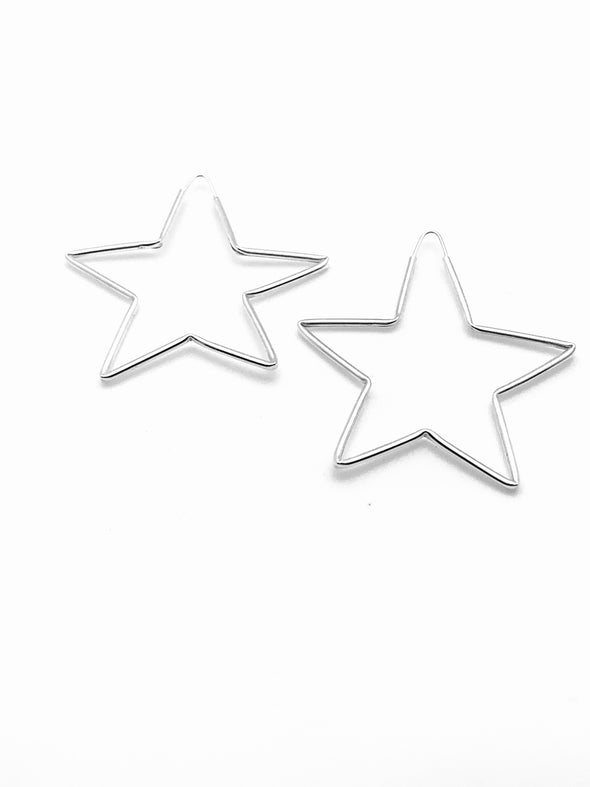 Star Hoop Earrings- Medium