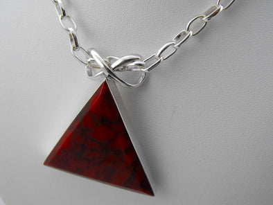 Red Pyramid Pendant Necklace