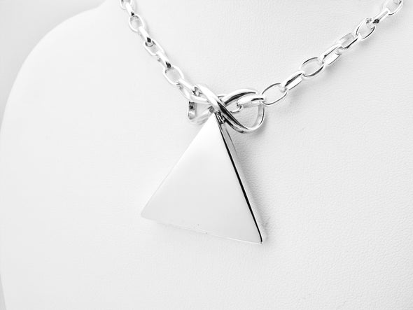 Sterling Silver Pyramid Pendant Necklace - Medium