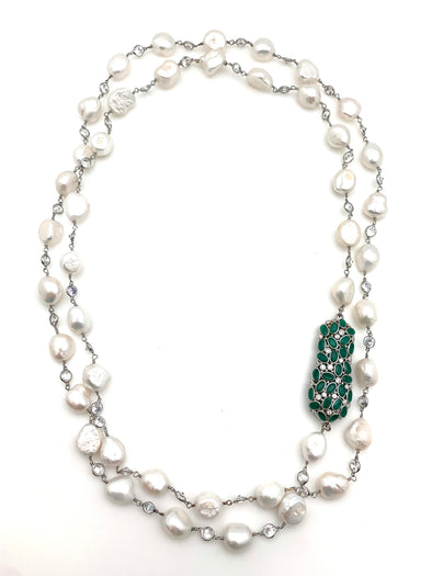 Freshwater Pearl and Emerald Necklace