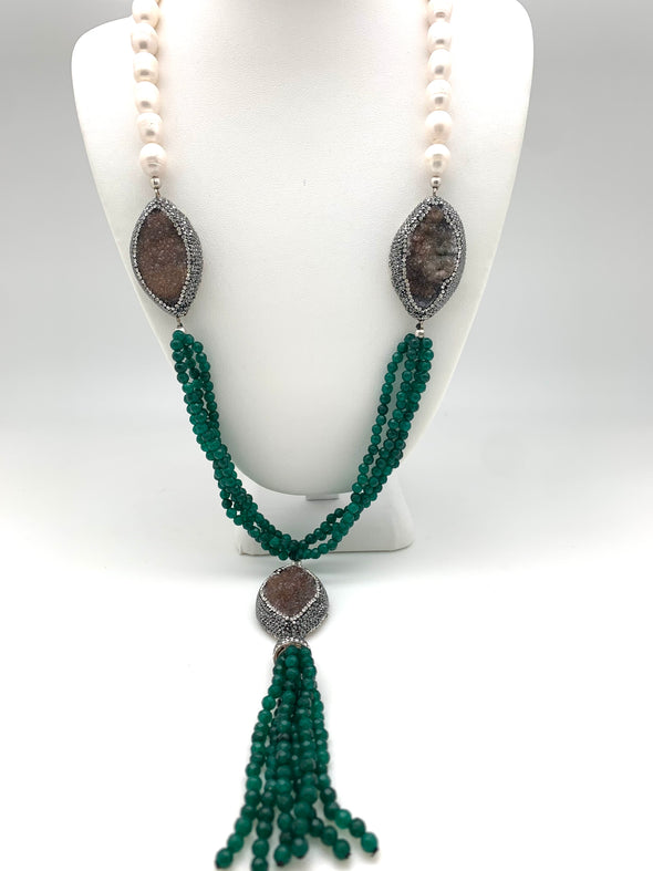 Freshwater Pearl and Emerald Tassel Necklace