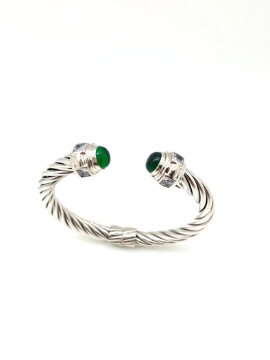 New! Emerald and Crystal Cable Bracelet
