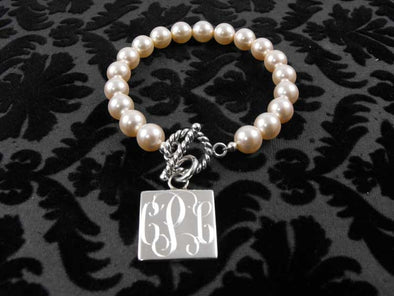 The Links Pearl Bracelet - Square - Stone - The Sterling Link