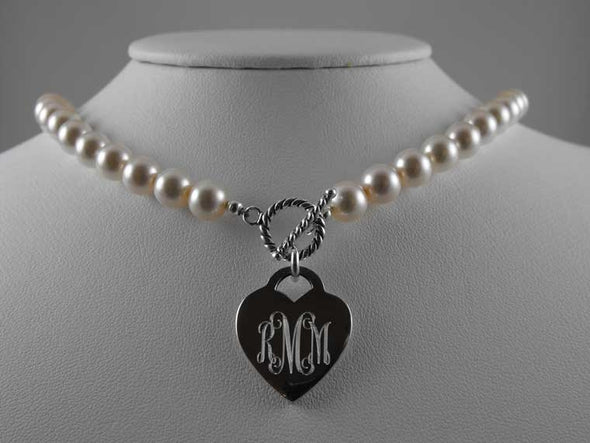 Monogram Heart Pearl Necklace - Top Level Category - The Sterling Link