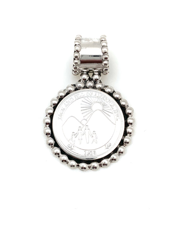 Jack and Jill Beaded Round Pendant