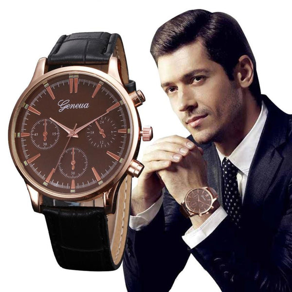 Fashion  Mens Watches 2017 Hot Sale Business Style PU Leather Quartz Watch Men Clocks Wristwatch For Men Quartz-watch