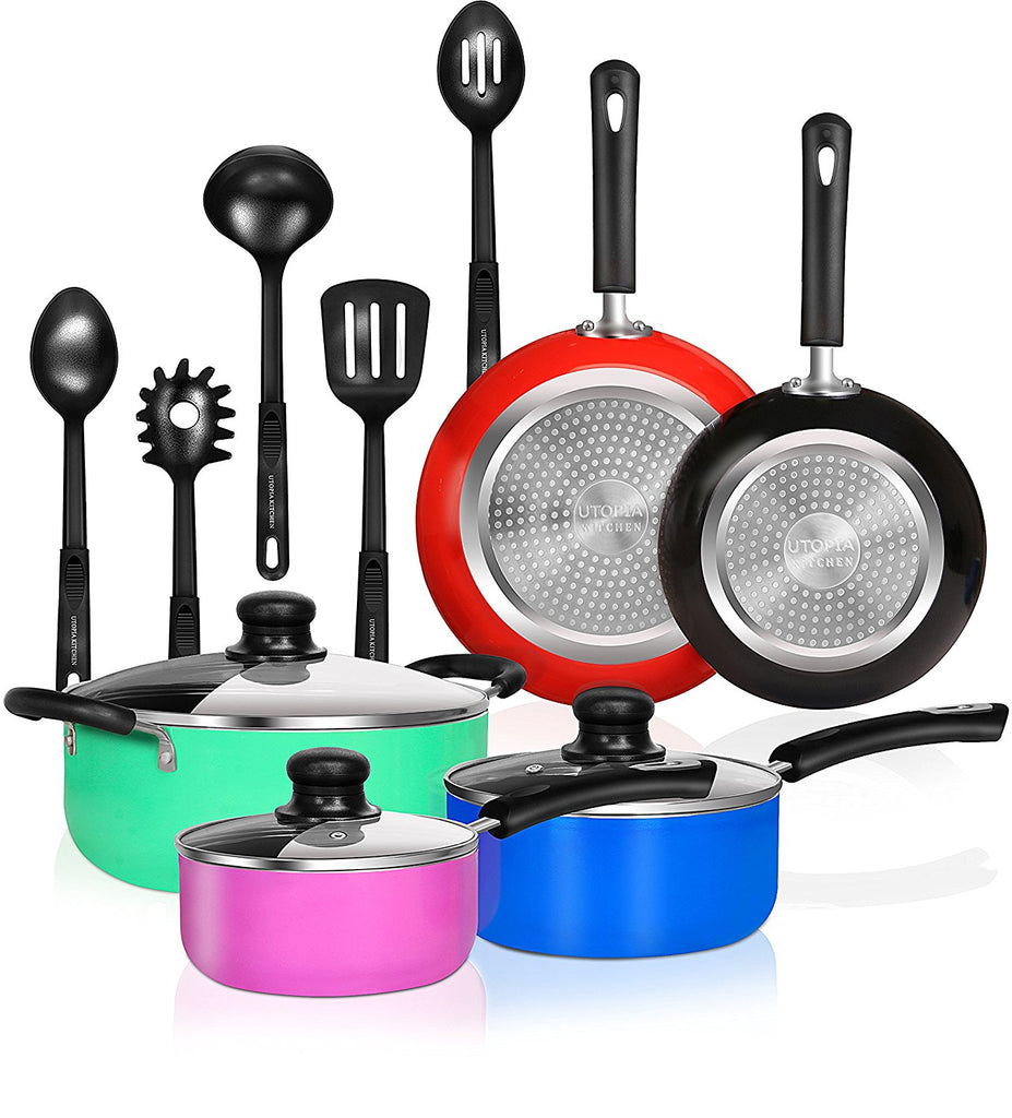 13 pieces kitchen cookware set double nonstick coating