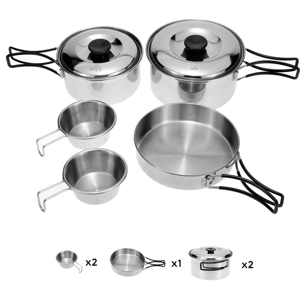stainless steel camping/backpacking cookware set – globetrot kitchen