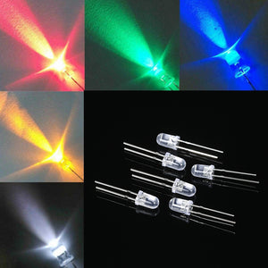 Bag of 1000 5mm Color LEDs (Red, Green, Yellow, White & Blue)