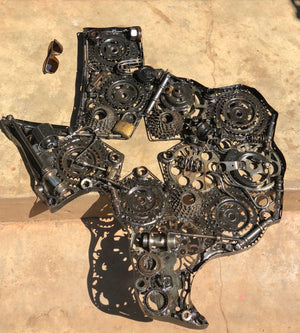Repurposed Metal Art - Rustic Home Decor - Texas Map Art