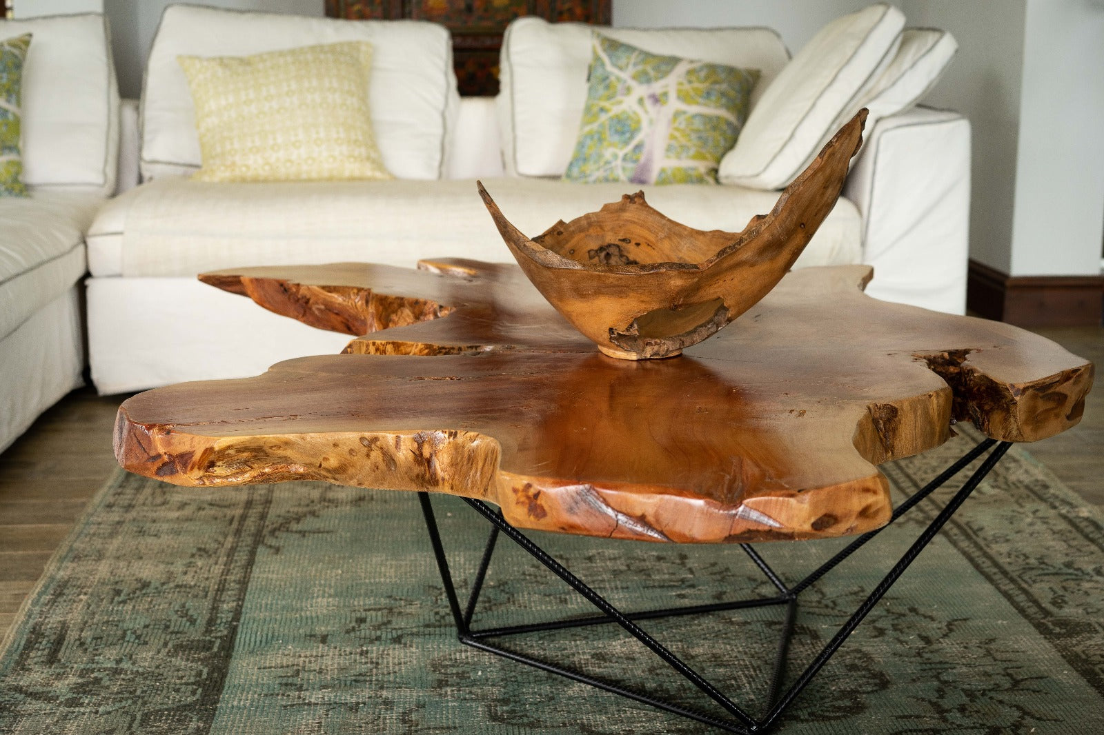 Live Edge Wood Coffee Table - Mid Century Modern - African Mahogany - Houston