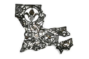 Repurposed Metal Art - Rustic Home Decor - Louisiana Map Art