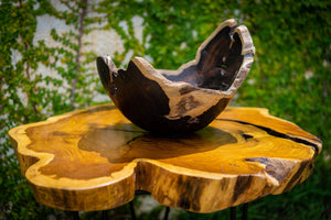 Luxury Table Centerpiece - Handcrafted Wooden Bowl - Dining Room Home Decor