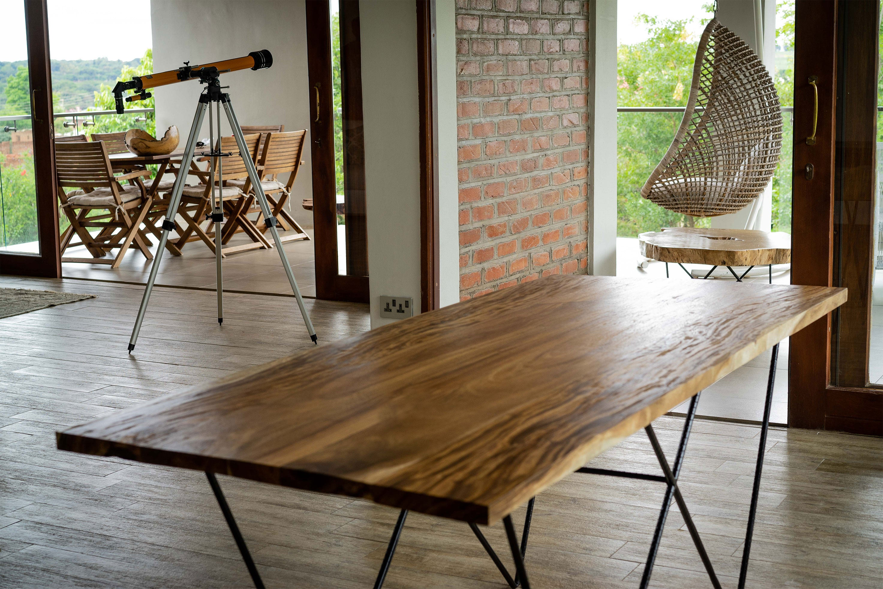 Straight Edge Wood Dining Table - Mid Century Modern - Handcrafted Furniture