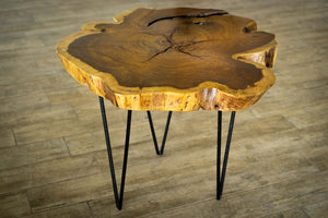 Live Edge Wood End Table - Mid Century Modern - Handcrafted Furniture