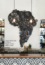 Metal Wall Art - Rustic Home Decor - Repurposed Metal Map of Africa