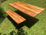 Straight Edge Wood Table - Mid Century Modern - Live Edge Table and Bench