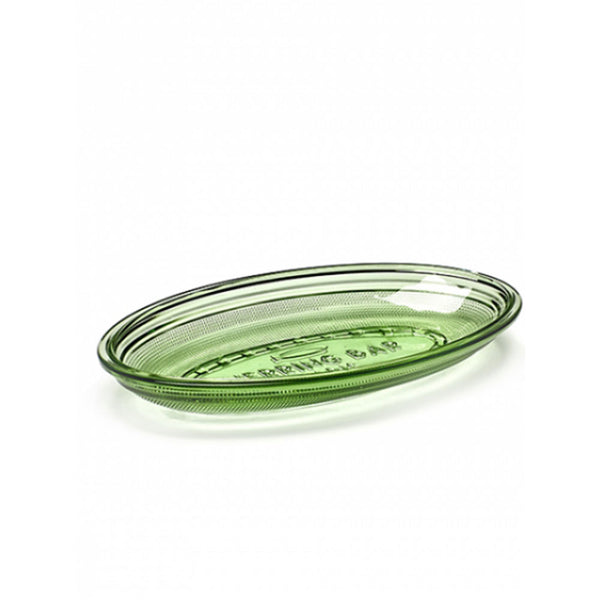 Oval Flat Dish - Transparent Green