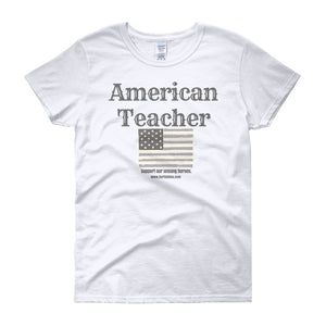 American Teacher - Blue Wood Font - Women's White short sleeve t-shirt