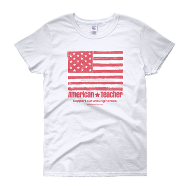 American Teacher - Flag - White - Women's short sleeve t-shirt