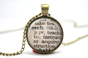 10PCS  Teach Dictionary Definition, Teacher Necklace
