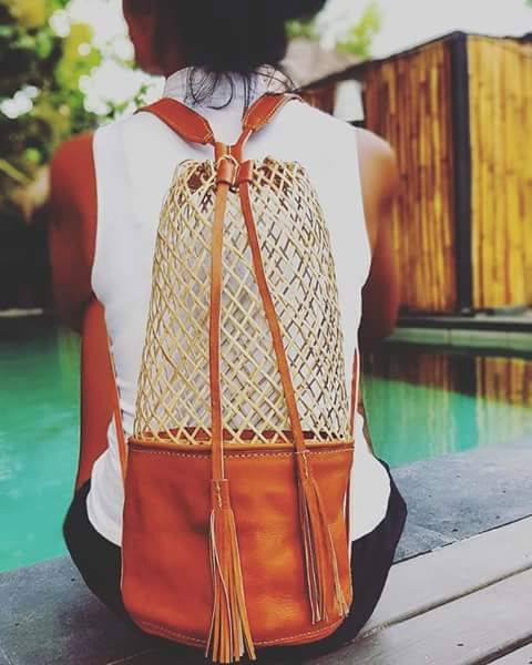 Borneo basket bag leather