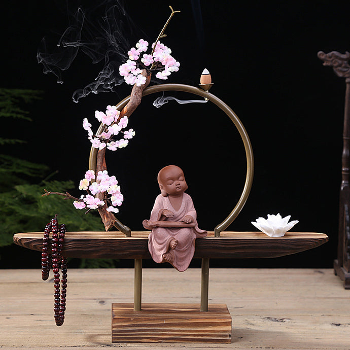 Baby Buddha Backflow Incense Burner Holder Kit