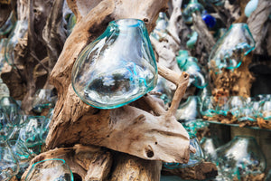 Glass and Wood Hanging Large