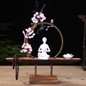 Meditating Lady Backflow Incense Burner Kit